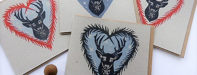 Stags Linocut Christmas Cards