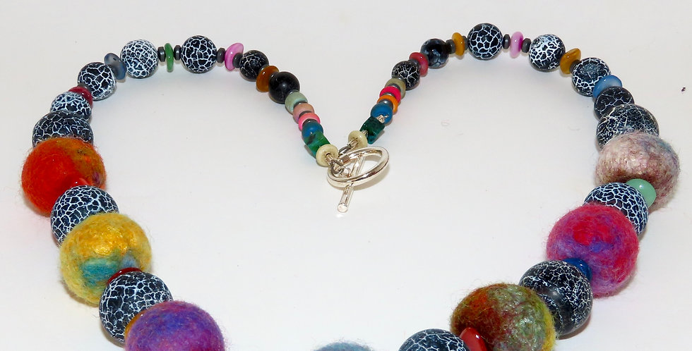 Felt Bead and Agate Necklace