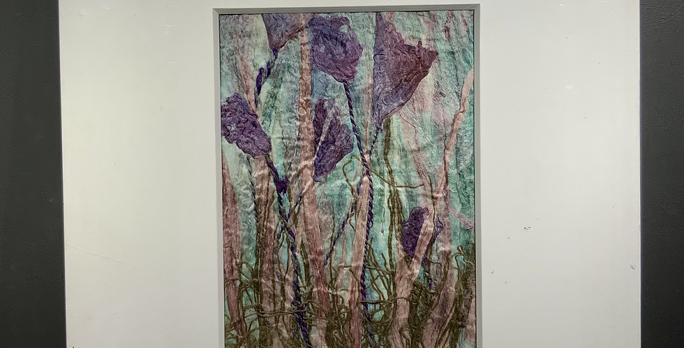 Purple Flowers on a Green Background (Unframed)