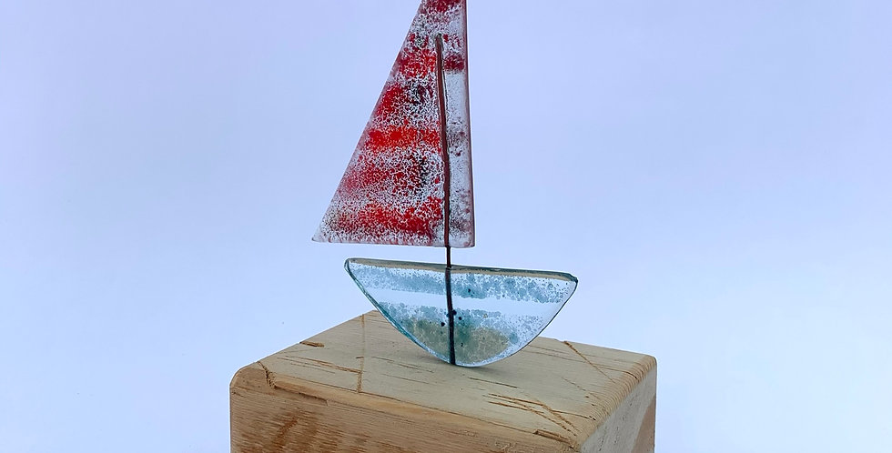 Recycled Glass Red Sailed Sailing Boat