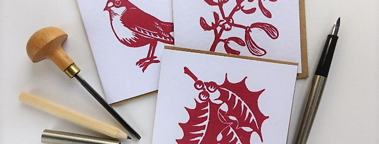 Pack of 3 Red Linocut Cards