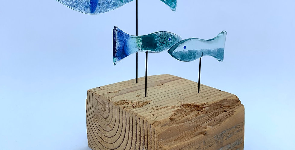 Recycled Glass Shoal of Blue Fish III