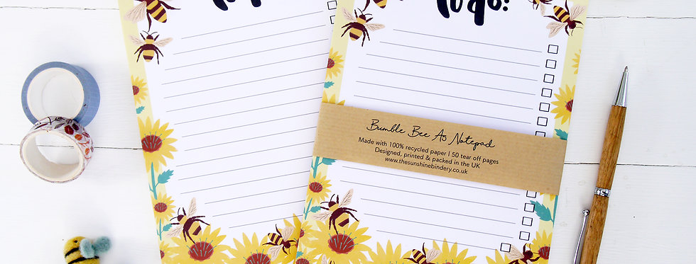 Bumble Bee A5 To Do List Notepads