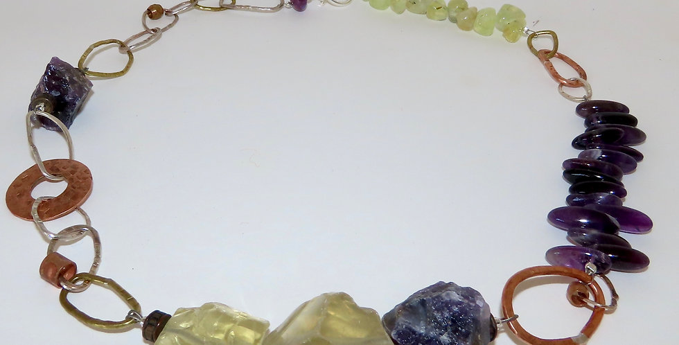 Citrine and Amethyst Chain Necklace