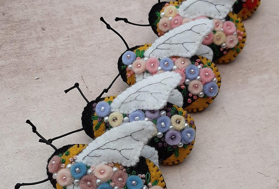 Flower Bombed Bee Brooch
