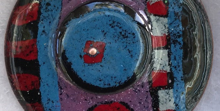 Large Enamelled Round Multi Layer Brooch