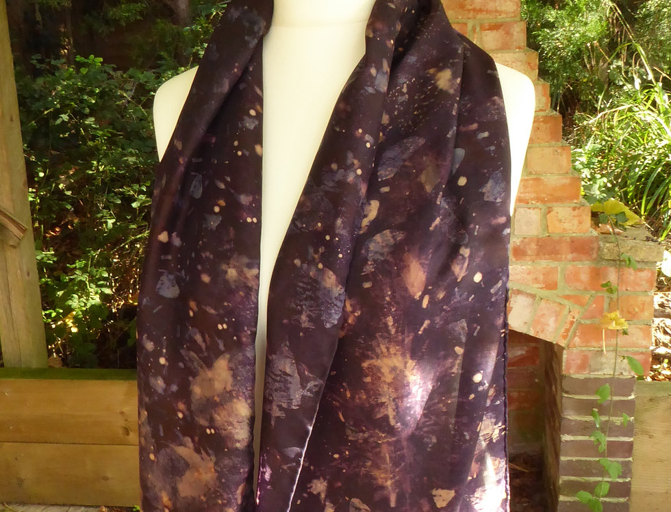 Ecoprinted Silk Scarf