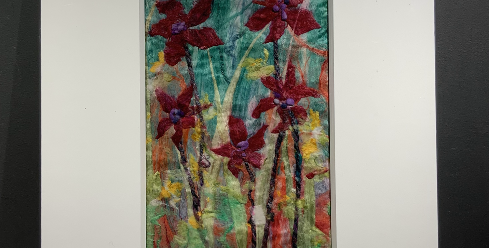 Burgundy Silk Flowers (Unframed)