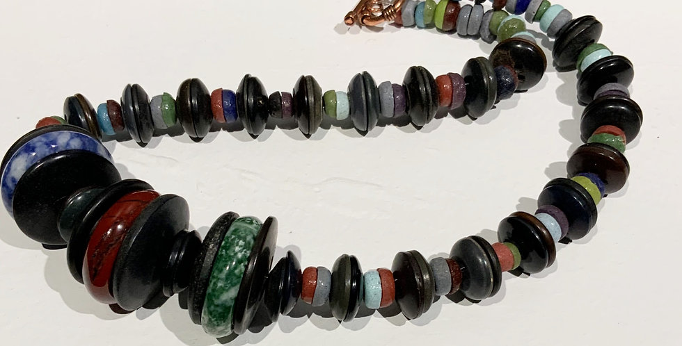 Button Necklace with Spinner Rings