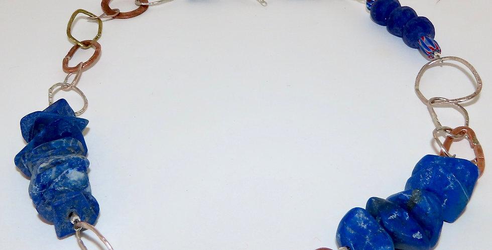 Lapis Lazuli Asymmetric Chain Necklace