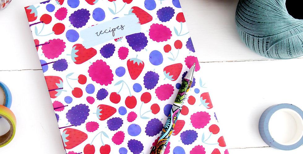Hand-bound Summer Berries Recipe Journal