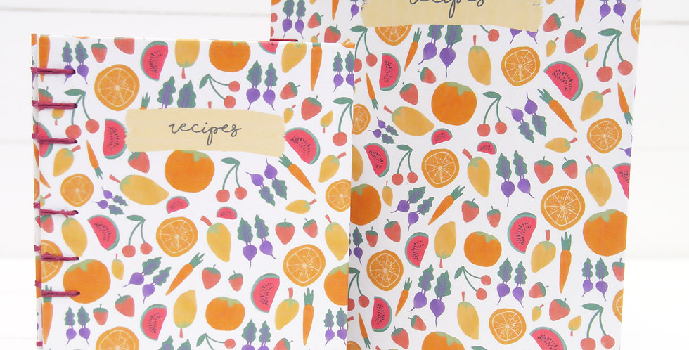 Hand-bound Fruity Recipe Journal