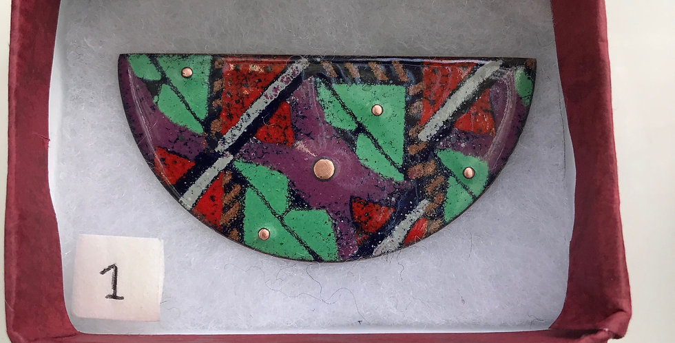Large Enamelled Half Round Brooch with Copper Adornment
