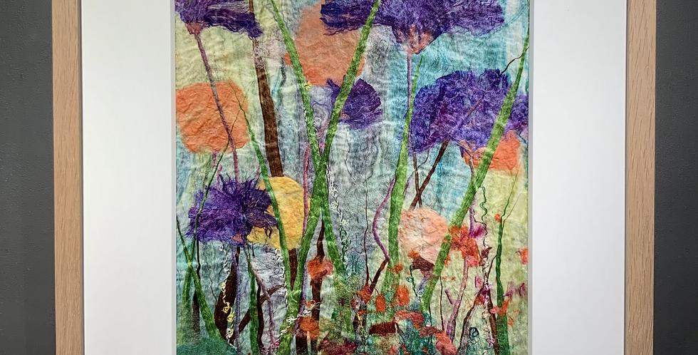 Purple Fan Flowers - Mulberry Silk