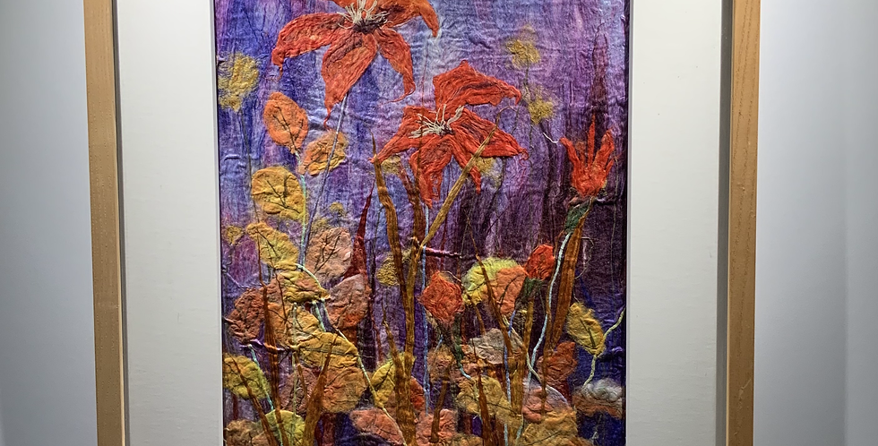 Red Lilies  - Mulberry Silk