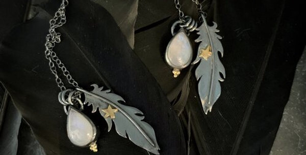 Raven Feather and Moonstone Necklace