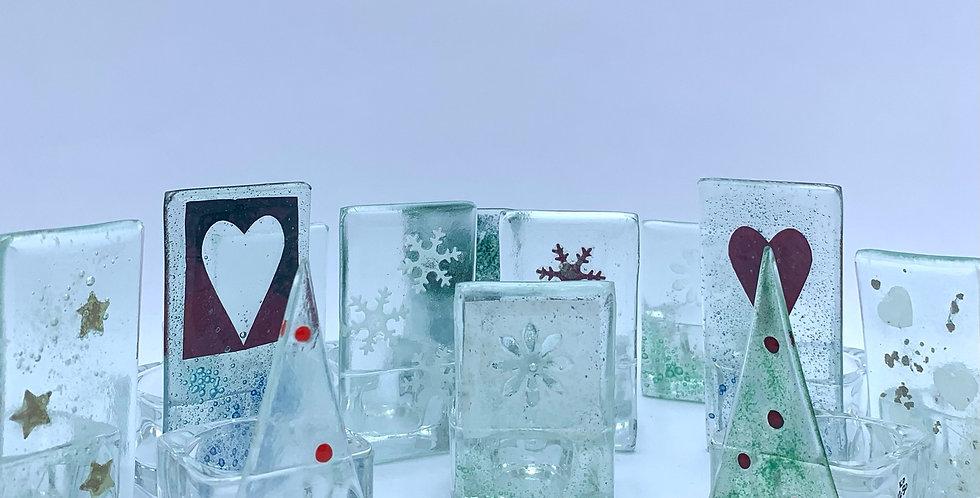 Recycled Glass Christmas Tea Light Holders