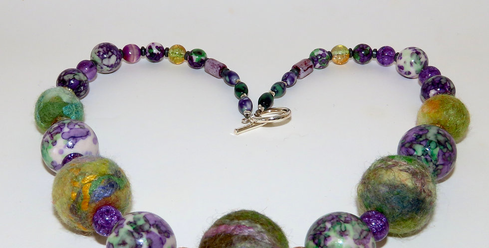 Felt bead and Jade necklace