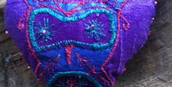 Machine Embroidered Soft Hearts