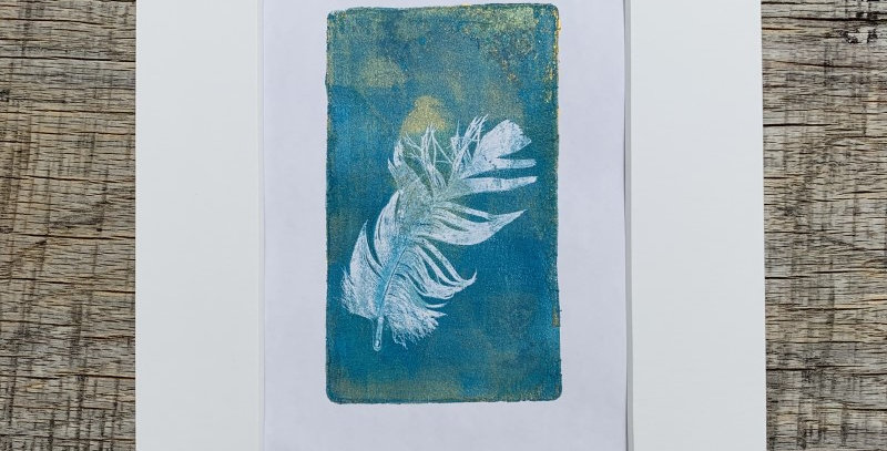 'Feather Wish I' - Original Monotype by Kate Osman