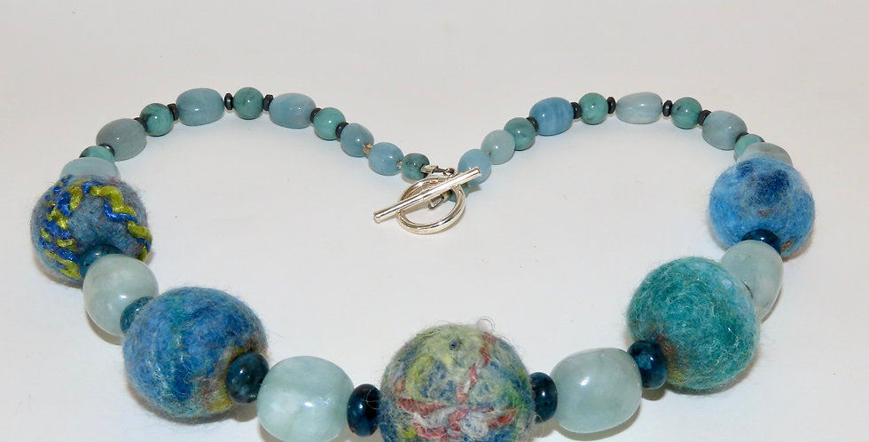Felt bead and Aquamarine Necklace