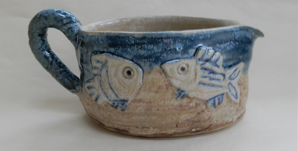 Small Oval Blue/Brown Fish Pouring Jug