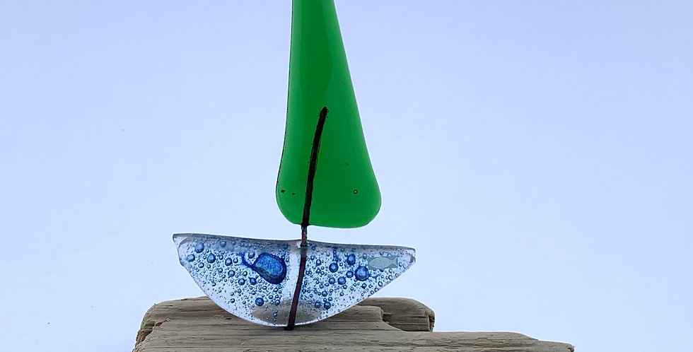 Recycled Glass Sailing Boat
