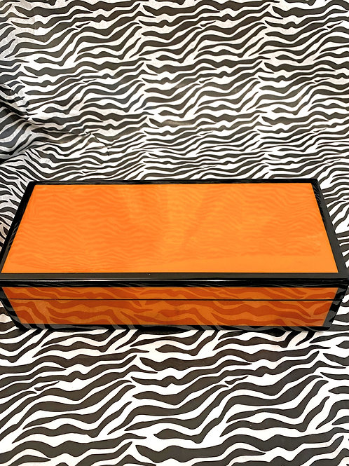 Orange with Black Trim Lacquered Wooden Box