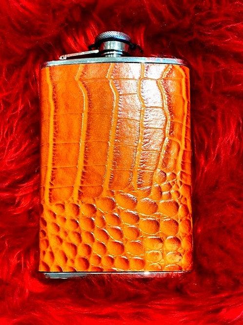 Orange Crocodile Print Flask