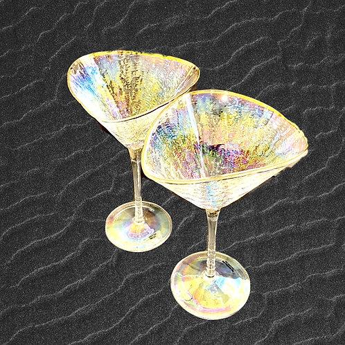 Iridescent Triangle Martini Glasses