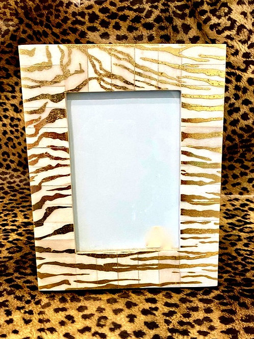 Bone Zebra Print Frame