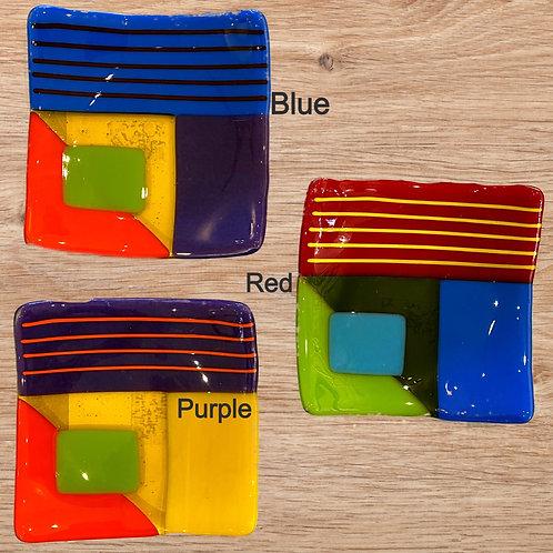 Geometric Fused Glass Plates