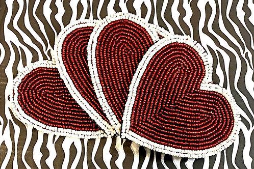 Beaded Heart Coaster