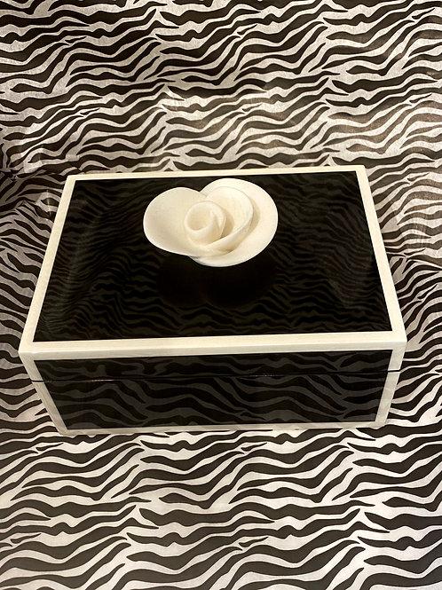 Black w/White Trim Lacquered Wood Box