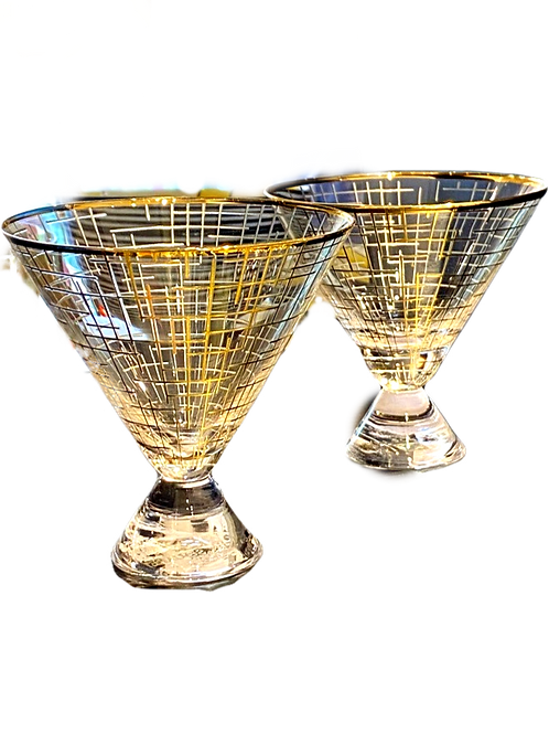 Stemless Martini Glasses with Gold Trim and Modern Lines