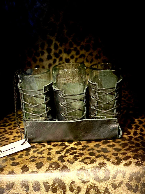 Hand Stitched Leather Barware