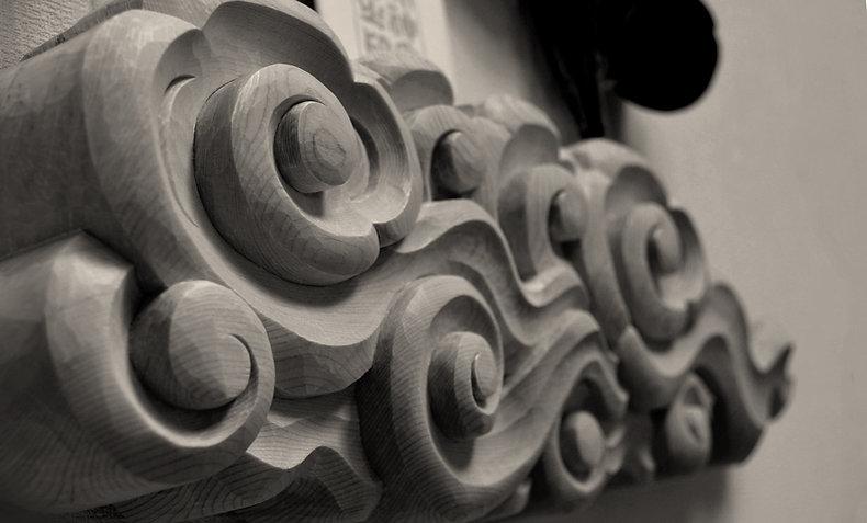 木曽桧彫刻神棚 祈り雲