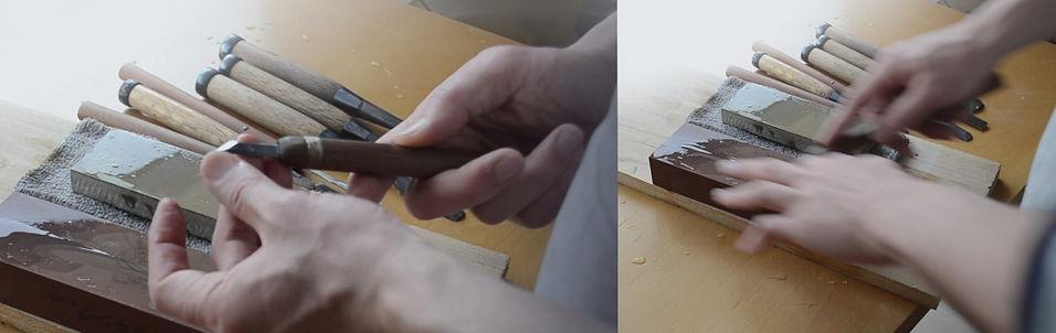 彫刻作業のための刃物研ぎ