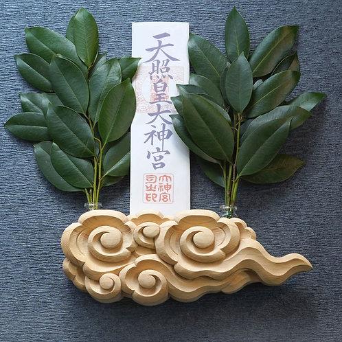 木曽桧彫刻神棚 祈り雲【五つ渦】