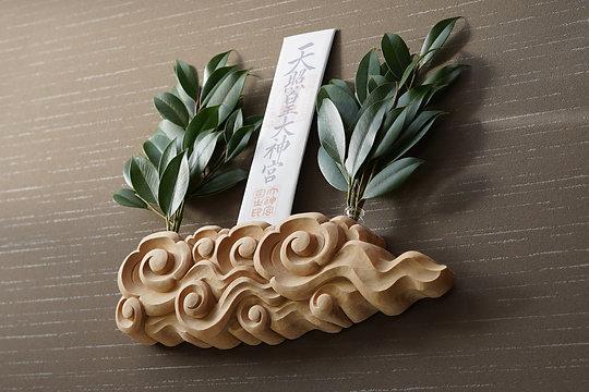 木曽桧彫刻神棚 祈り雲【八つ渦】