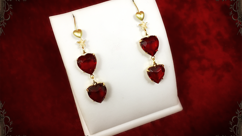 Ruby Hearts Earrings