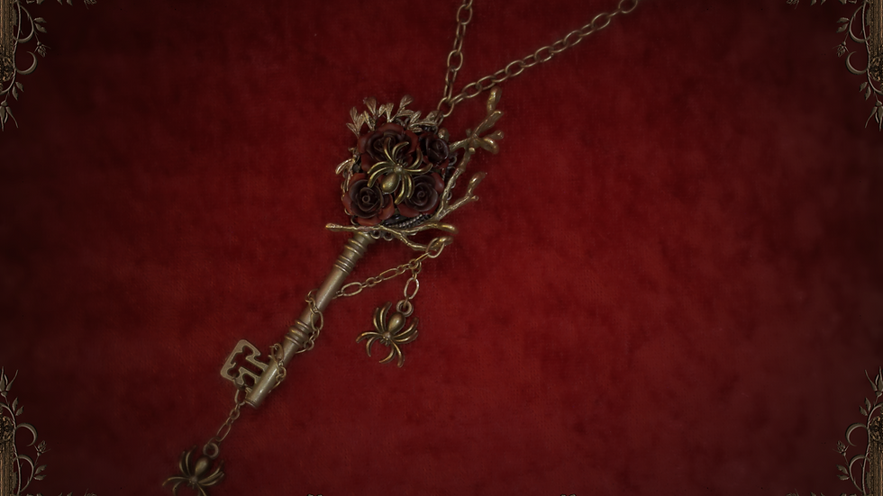 Webs in the Roses Key Necklace