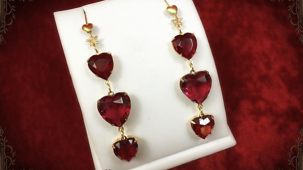 Ruby & Rose Triple Hearts Earrings