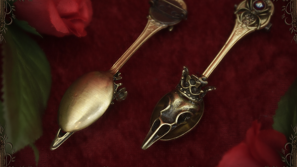 Crow King Tea Spoon Brooch