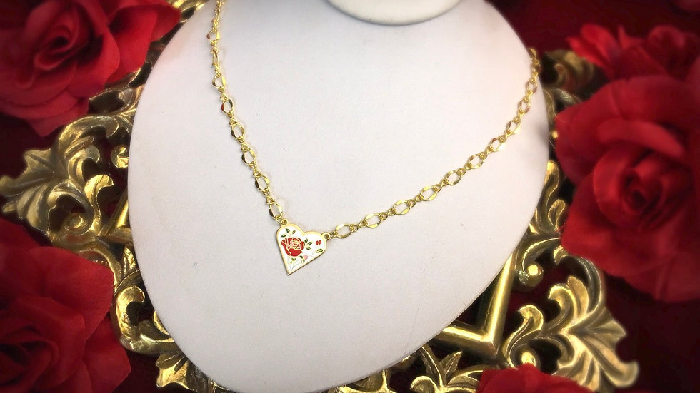 Cloisonne Rose Necklace - White Heart