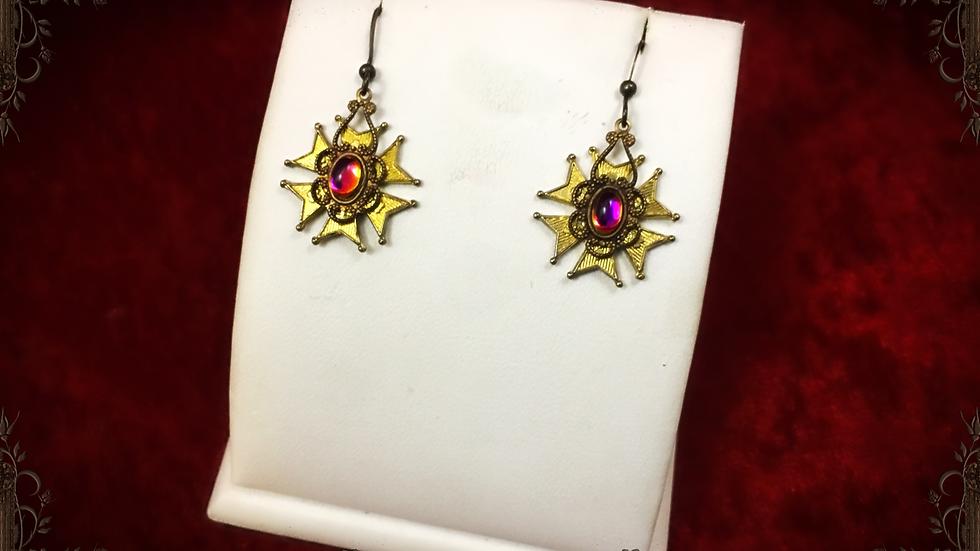 AB Purple & Yellow Medal Earrings