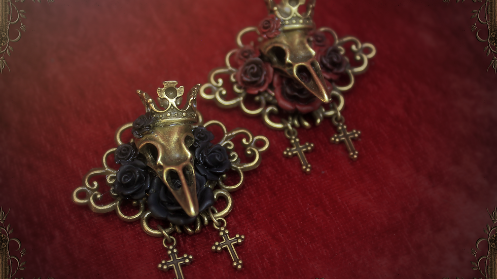 Crow's Burial Hair Clip & Brooch - Red