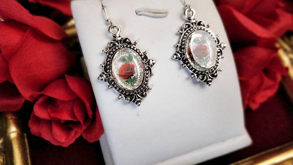 Clear Glass Rose Earrings - Silver