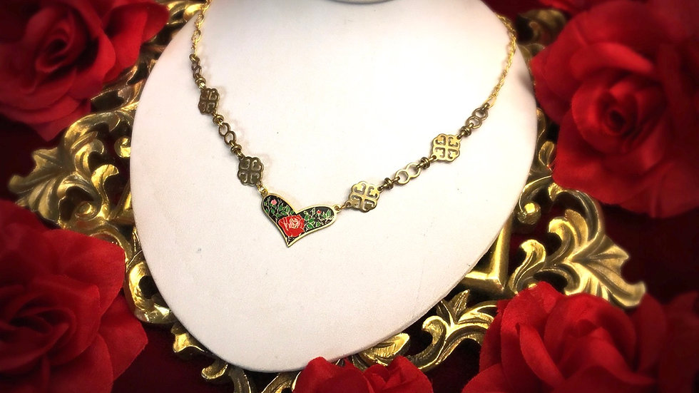 Cloisonne Rose Necklace - Black Heart