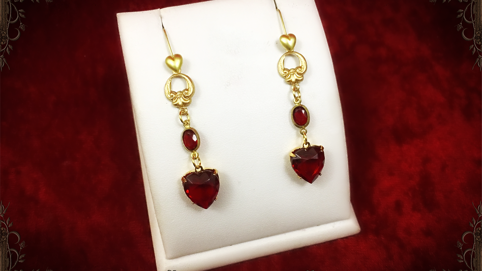 Ruby Heart & Center Earrings I